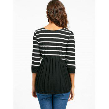 Striped Panel Casual Tunic Top - BLACK BLACK