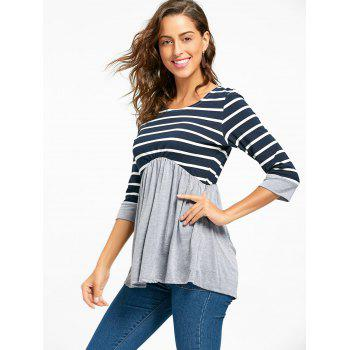 Striped Panel Casual Tunic Top - GRAY GRAY