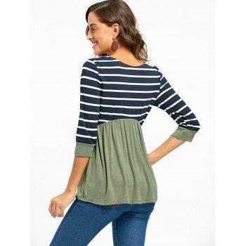 Striped Panel Casual Tunic Top - GREEN GREEN