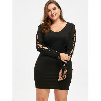 Plus Size Lace Up Mini Dress - BLACK 4XL