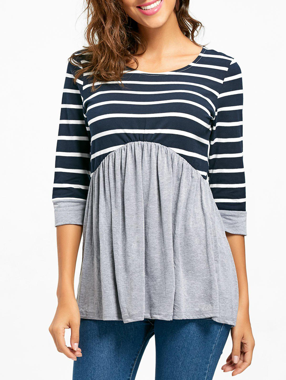 Striped Panel Casual Tunic Top - GRAY L