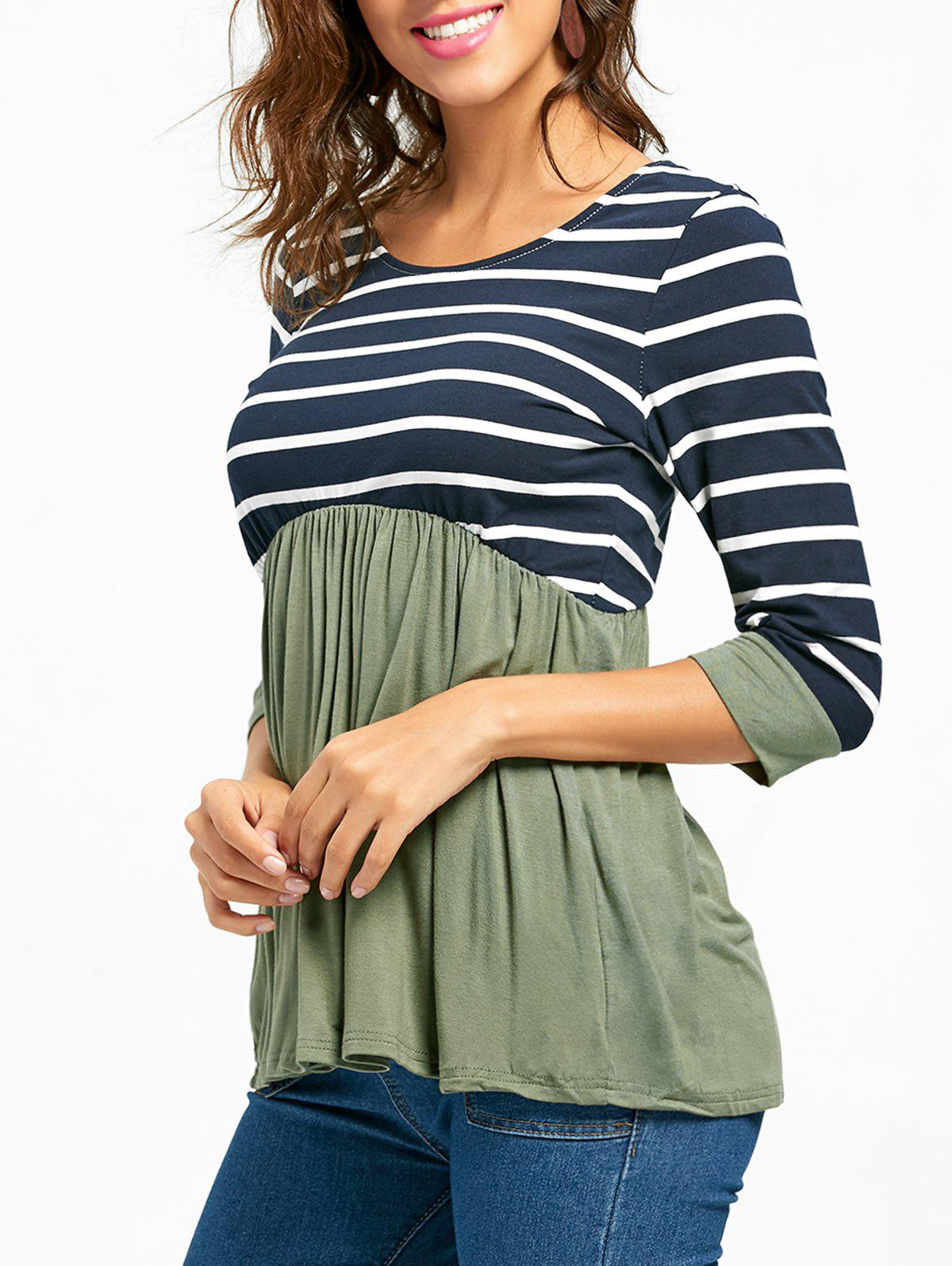 Striped Panel Casual Tunic Top - GREEN XL