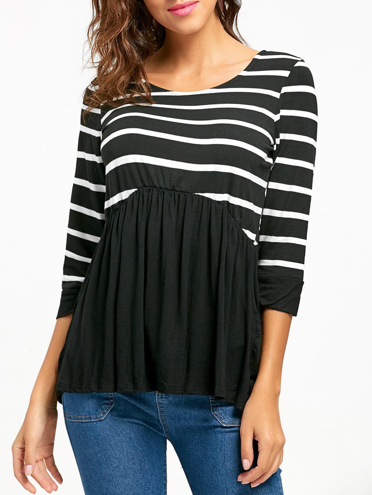 Striped Panel Casual Tunic Top - BLACK S