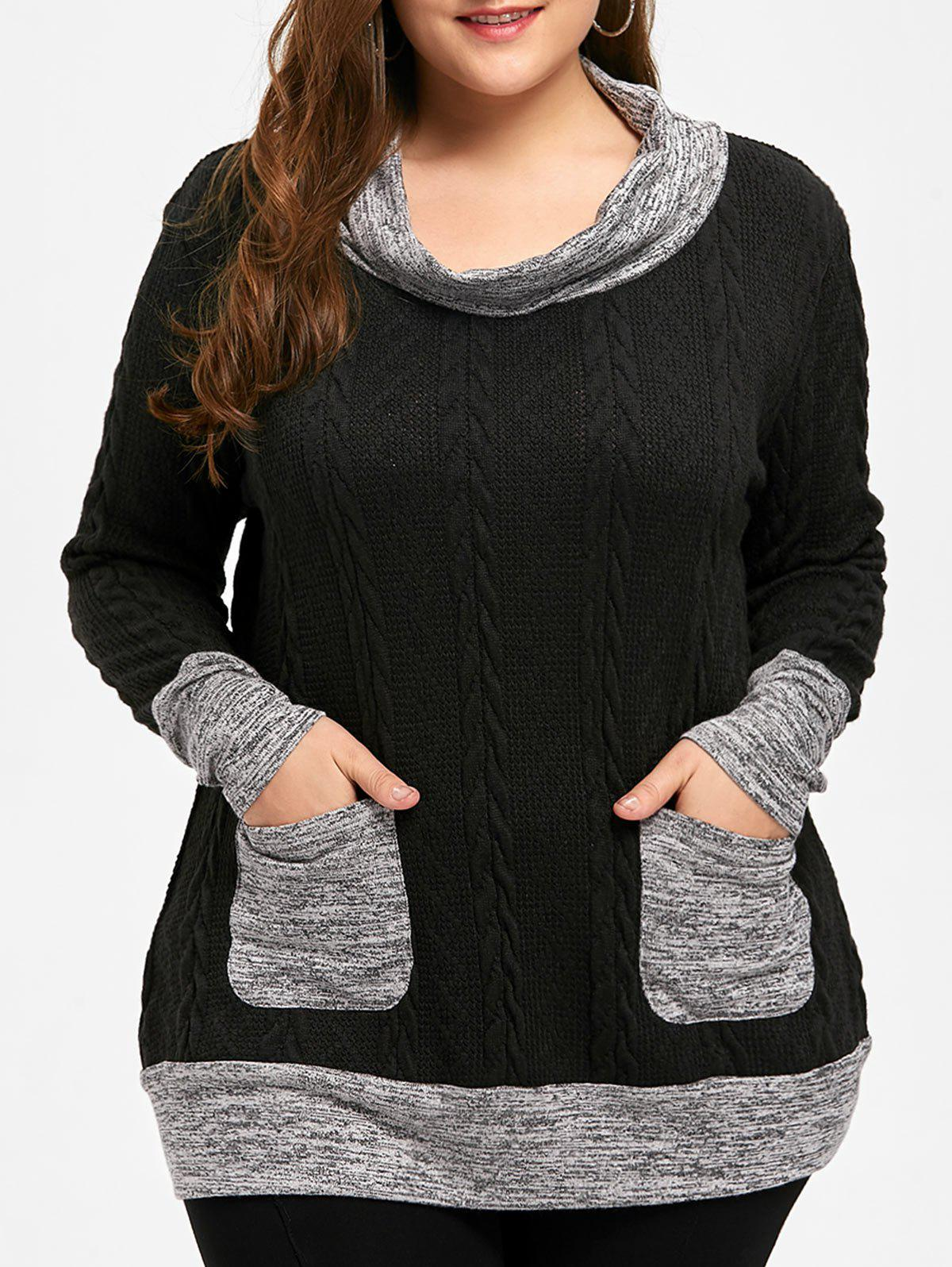 Plus Size Cable Knit Cowl Neck Sweater - BLACK 4XL