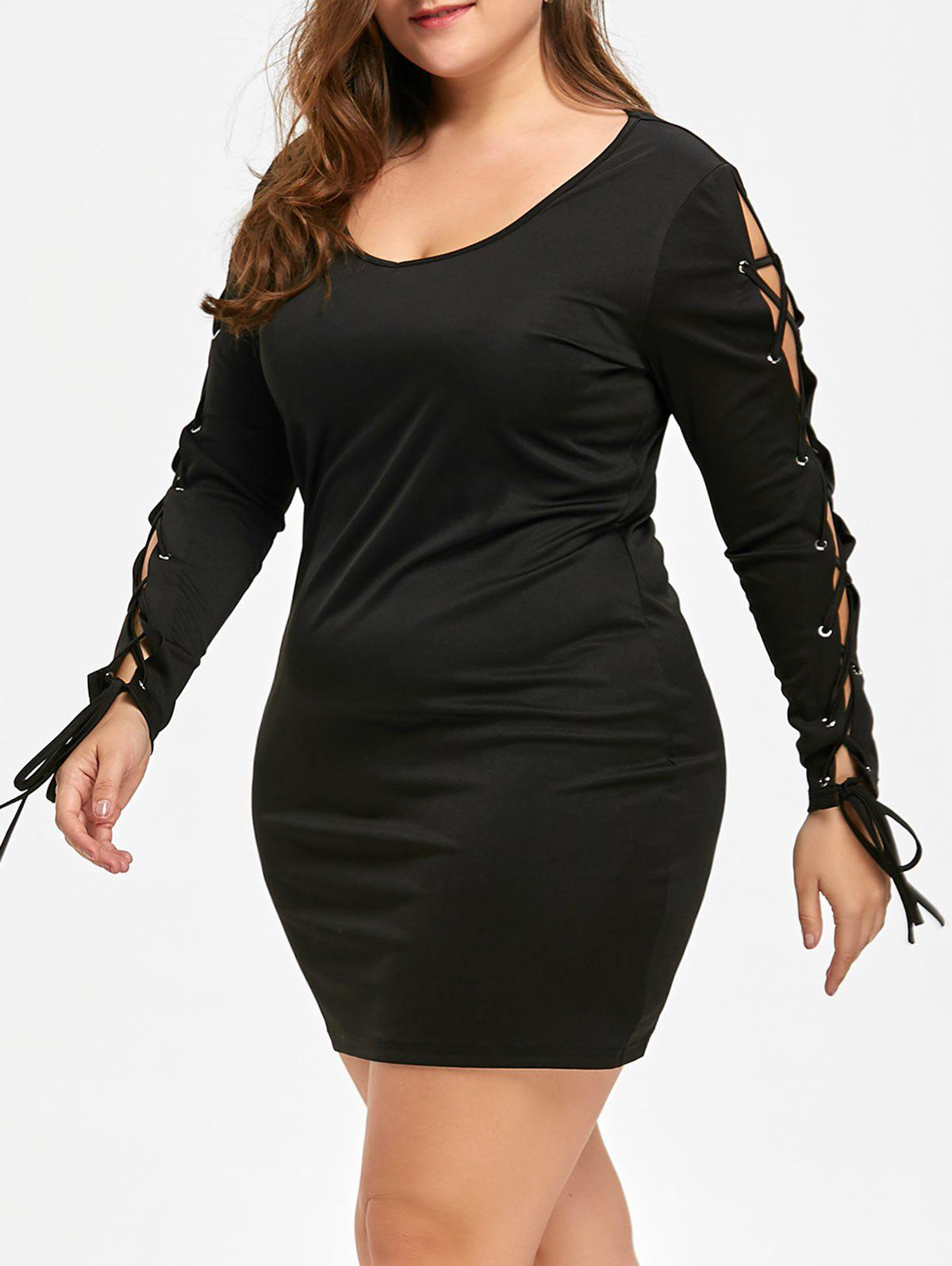 Plus Size Lace Up Mini Dress - BLACK 5XL