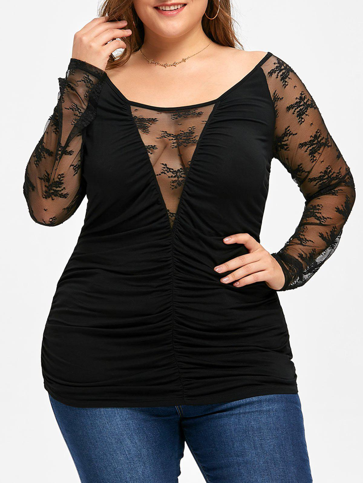 Plus Size Sheer Lace Trim Ruched Top plus size sheer lace trim ruched top