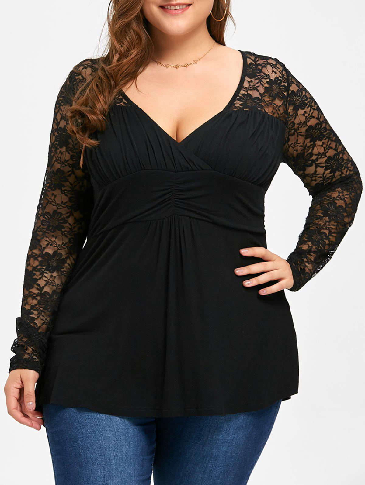 Plus Size Lace Yoke Sheer Empire Waist Top plus size sheer lace trim ruched top