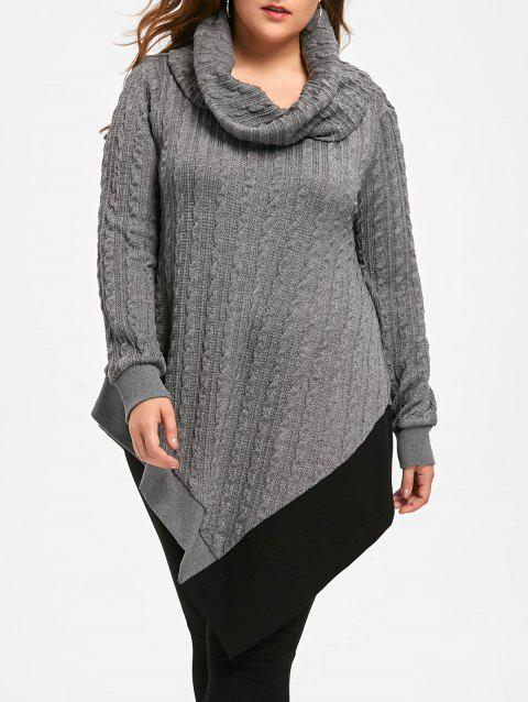 e38a679bcc8 41% OFF  2019 Plus Size Cable Knit Cowl Neck Asymmetric Sweater In ...
