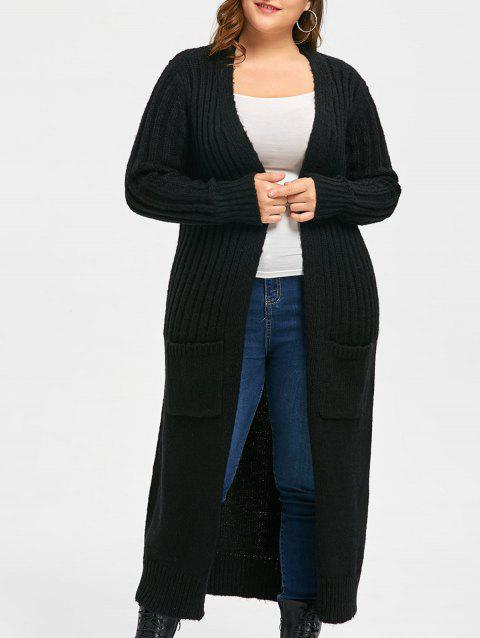 Plus Size Two Pockets Long Ribbed Collarless Cardigan - BLACK ONE SIZE