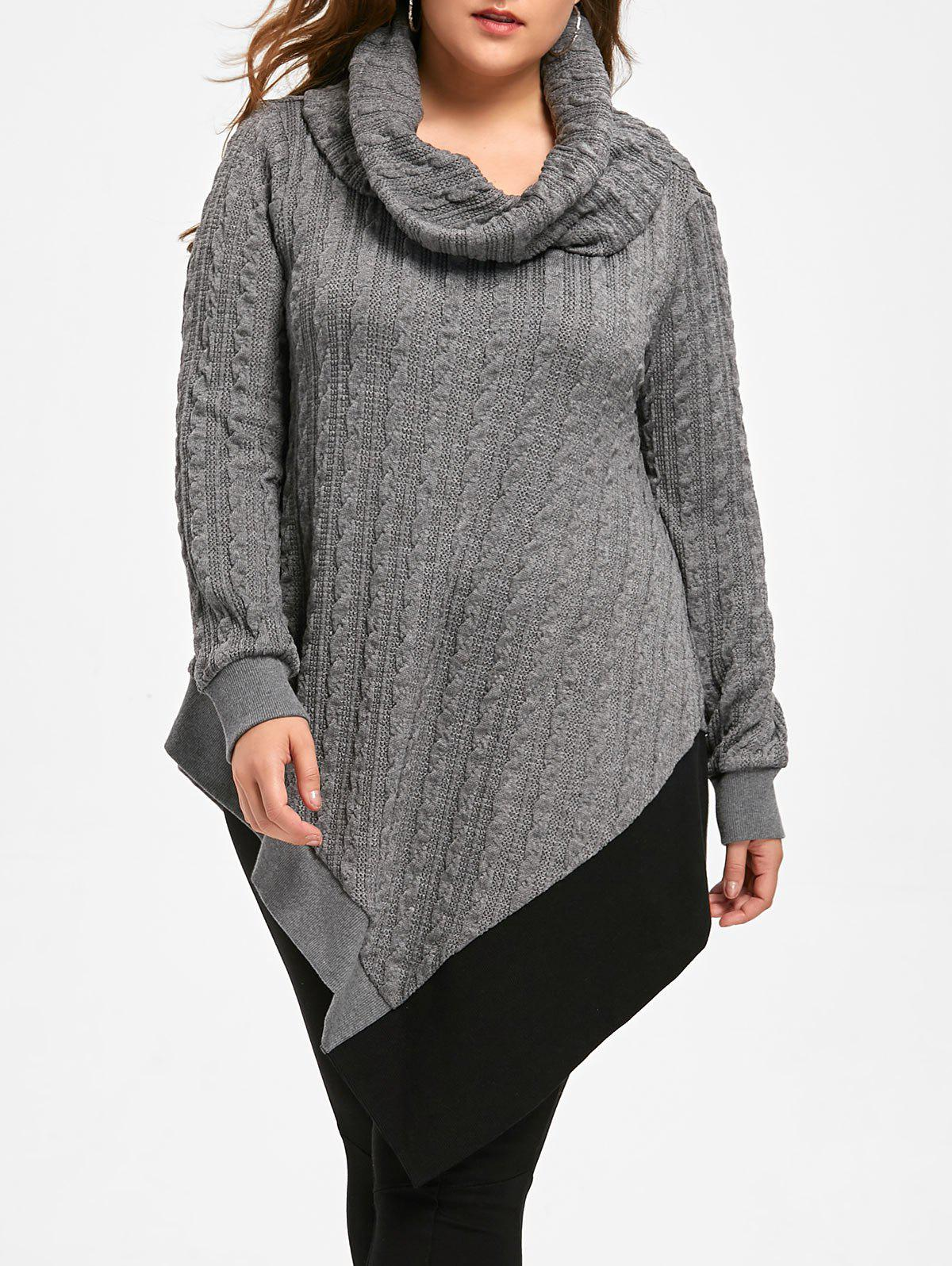 Plus Size Cable Knit Cowl Neck Asymmetric Sweater inc new white buttercream women s size xs ribbed cowl neck knit sweater $69 180