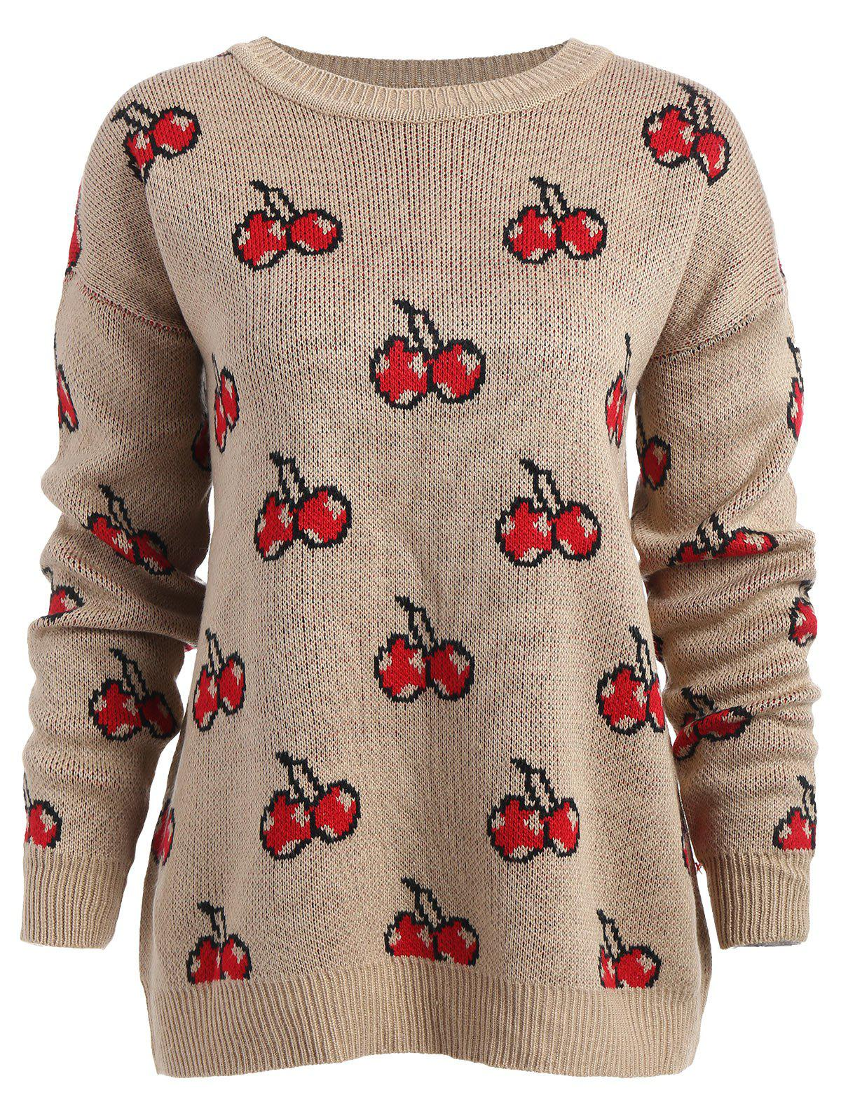 Plus Size Cherry Crew Neck Sweater - KHAKI ONE SIZE