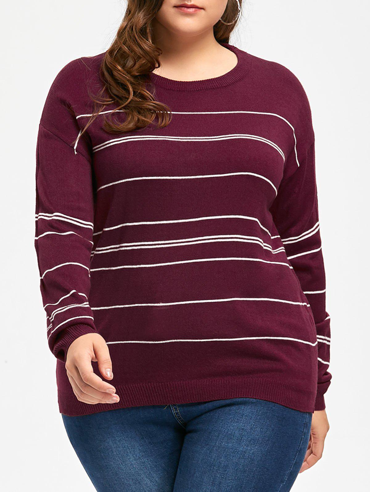 Plus Size Stripe Sweater with Slit - WINE RED 3XL