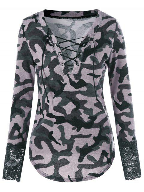 Lace Up Camouflage Lace Panel T-shirt - ACU CAMOUFLAGE 2XL