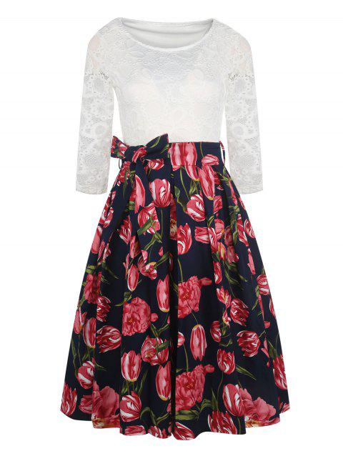 Lace Sleeve Floral Retro Full Dress - RED XL
