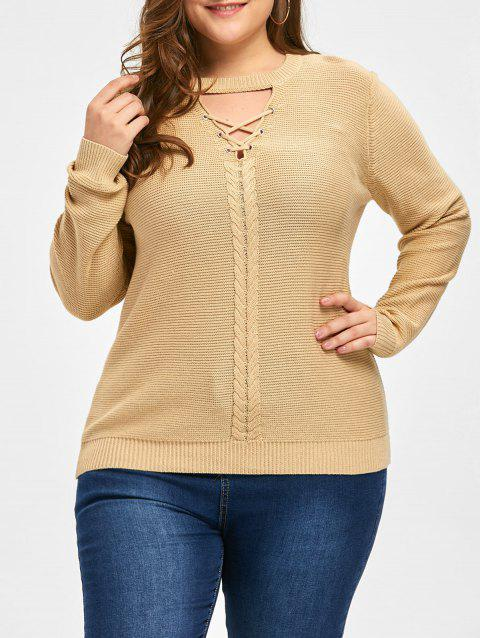Plus Size Criss Cross Cable Knit Sweater - LIGHT CAMEL 4XL