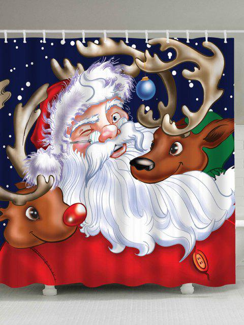 Santa Claus Reindeer Christmas Waterproof Bath Curtain - COLORMIX W71 INCH * L79 INCH
