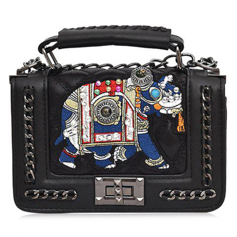 Elephant Embroidered Small Chain Strap Crossbody Bag - BLACK