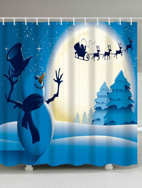 Christmas Snowman Moon Waterproof Shower Curtain - BLUE W71 INCH * L71 INCH