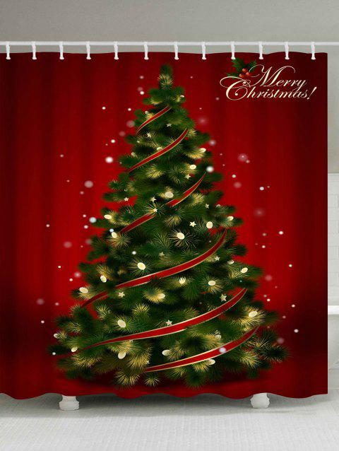 Polyester Waterproof Christmas Tree Shower Curtain - RED W71 INCH * L71 INCH