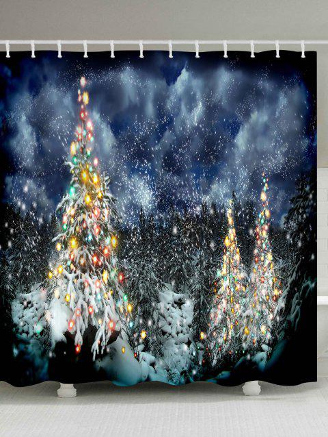 Snow Night Christmas Tree Waterproof Shower Curtain - COLORMIX W71 INCH * L71 INCH