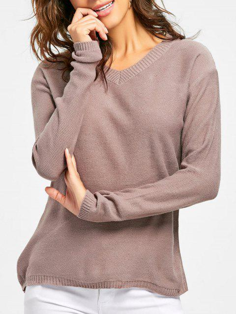 V Neck Tunic Jumper - DARK KHAKI M