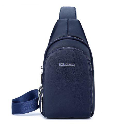 Sports Casual Faux Leather Chest Pack - BLUE