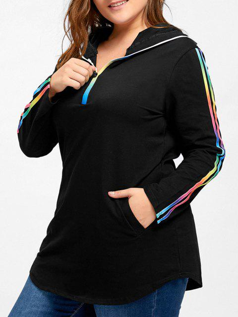 19e9812b4f2 41% OFF  2019 Plus Size Hooded Rainbow Striped Tee In BLACK 4XL ...