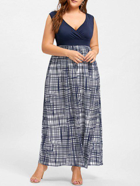Plus Size Plaid Surplice Empire Waist Dress - PURPLISH BLUE 5XL
