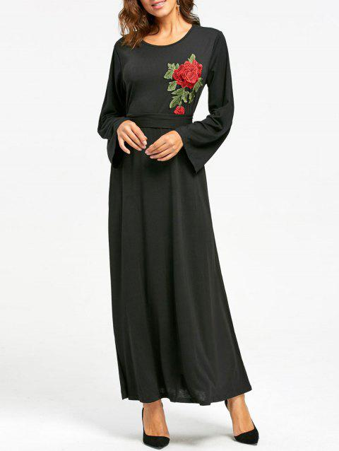 386d81f4de849 2019 Long Sleeve Floral Embroidered Maxi Dress In BLACK XL ...