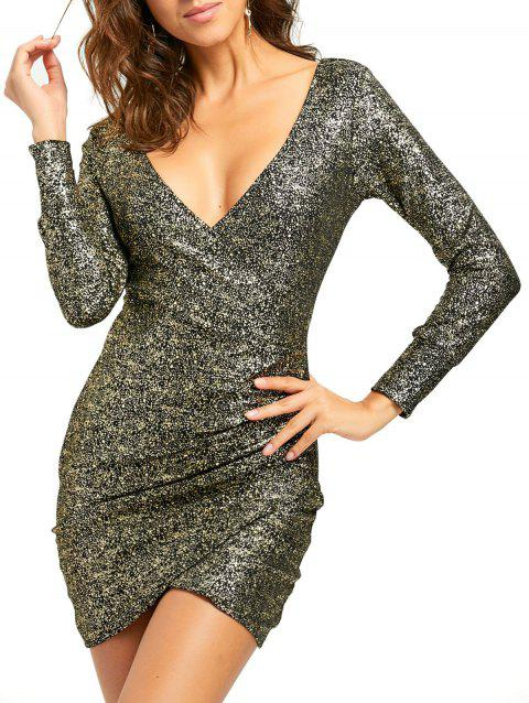 Plunging Neckline Ruched Mini Bodycon Dress - GOLDEN L