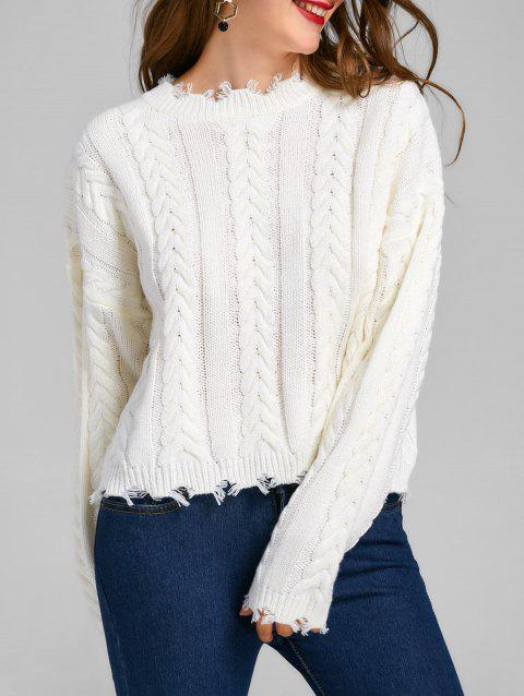 Cable Knit Frayed Sweater - WHITE M