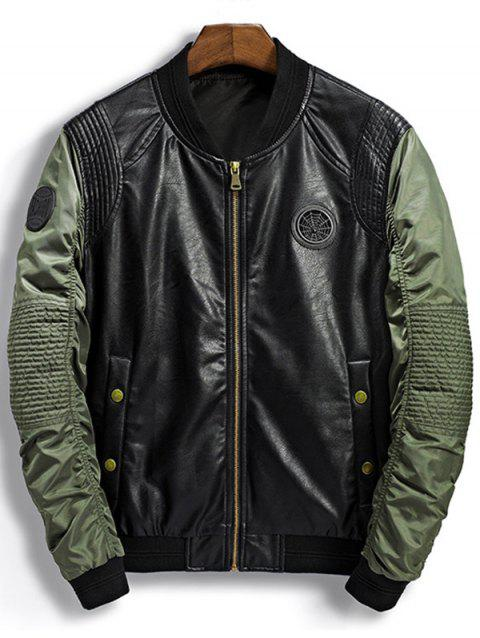 Patch Design PU Insert Bomber Jacket - GREEN M