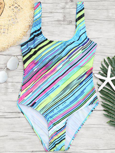 Open Back Striped One Piece Swimsuit - COLORMIX XL