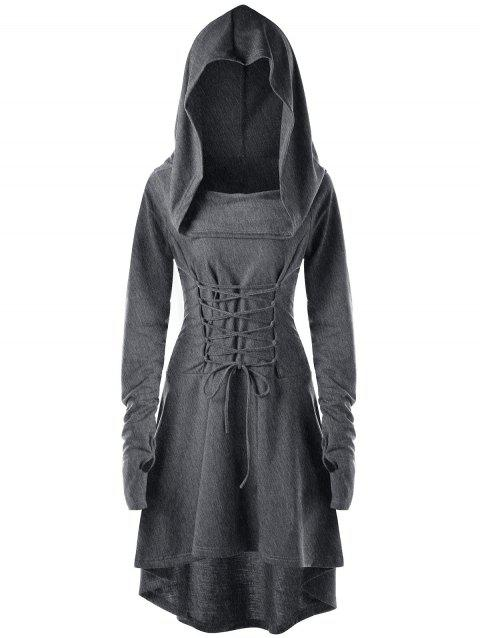 Lace Up Hooded High Low Dress - DARK HEATHER GRAY L
