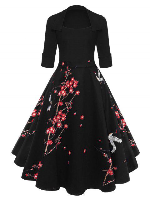 Blossom Printed Vintage Swing Dress - BLACK XL