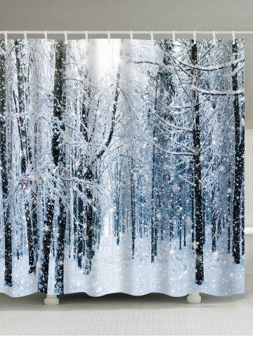 Christmas Snow Forest Print Waterproof Bath Curtain