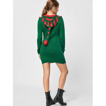 Christmas Drop Pockets Hooded Jumper Dress - XL XL