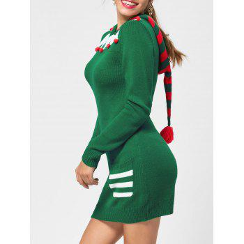 Christmas Drop Pockets Hooded Jumper Dress