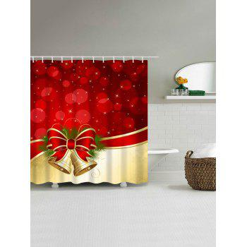 Waterproof Christmas Bowknot Bell Shower Curtain - RED / GOLDEN W71 INCH * L79 INCH