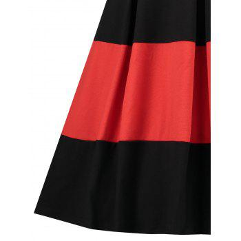 Plus Size Color Block Vintage Dress - BLACK 5XL
