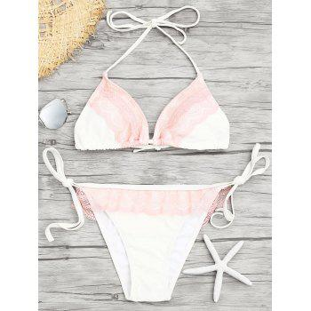 Lace Insert Low Waisted Bikini Set - WHITE S