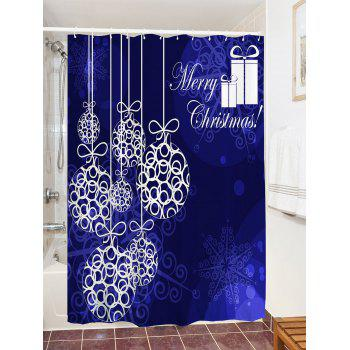 Christmas Ball Pattern Waterproof Shower Curtain - BLUE W71 INCH * L79 INCH