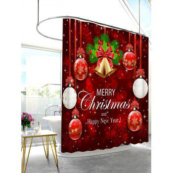 Christmas Ornaments Print Waterproof Shower Curtain - RED W71 INCH * L79 INCH