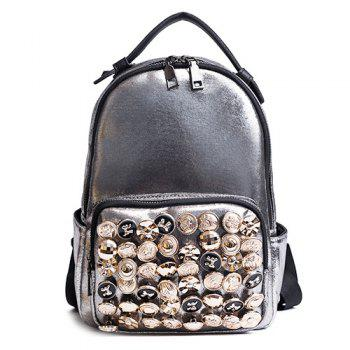 Two-way Zipper Studs Faux Leather Backpack - CHAMPAGNE CHAMPAGNE