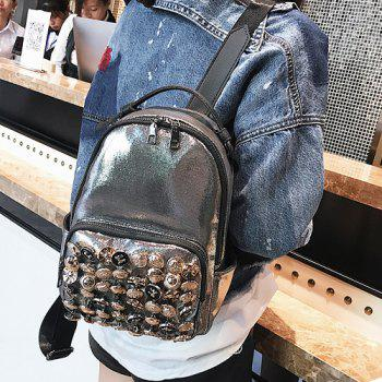 Two-way Zipper Studs Faux Leather Backpack - CHAMPAGNE