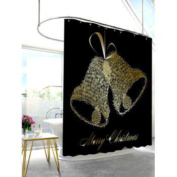 Merry Christmas Bell Pattern Waterproof Shower Curtain - BLACK W71 INCH * L71 INCH