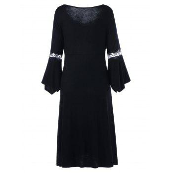 Plus Size Lace Up Bell Sleeve Dress - BLACK 3XL