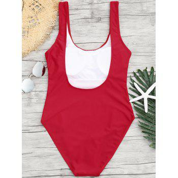 Letter Print Backless One Piece Swimsuit - RED M