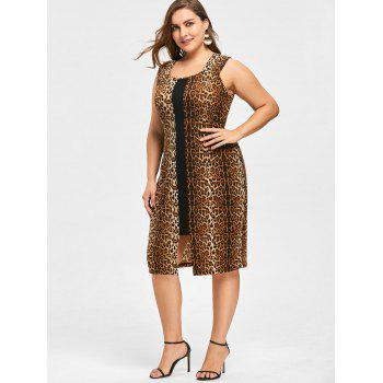 Plus Size Leopard Sleeveless Dress - BLACK LEOPARD PRINT 2XL