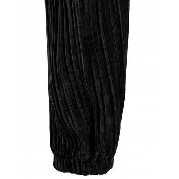 Plus Size Velvet Pleated Jogger Pants - BLACK 3XL